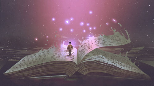 Boy standing on the opened giant book with fantasy light, digita